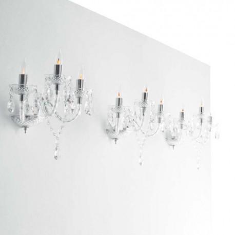 Væg Lysekrone - Modern Classic Wall - Klar/Sølv - 2'er sæt!