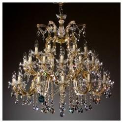 "Crystal Chandelier 30 Bulb Brass ""Regina 30"""
