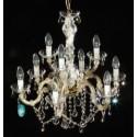 "9 bulb Swarovski Crystal SPECTRA brass Chandelier ""Vienna 9"""